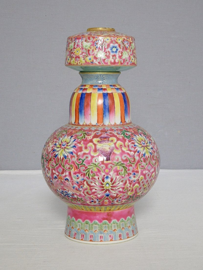 Chinese Famille Rose Porcelain Vase With Mark - 3