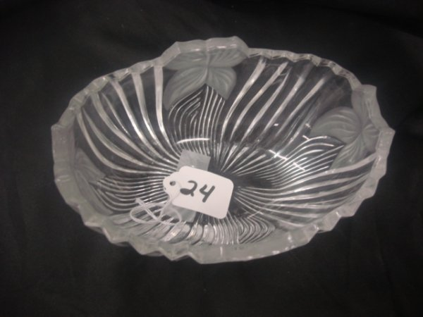 24: Oval, clear dish w/ satin flowers - 7