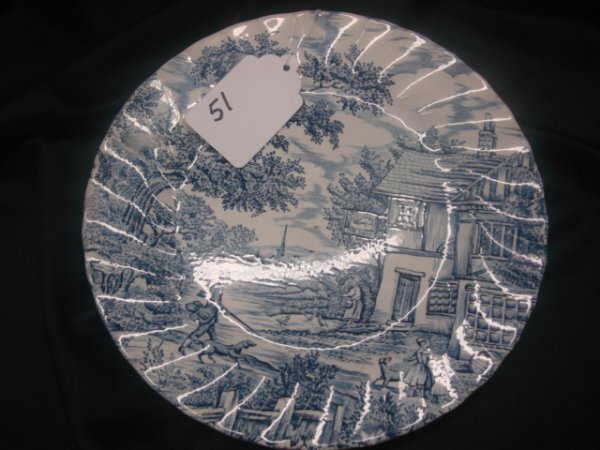 51: 10 Plate - The Hunter by Myott  Hand Engraved, Perm