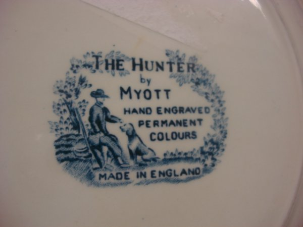 51: 10 Plate - The Hunter by Myott  Hand Engraved, Perm - 2