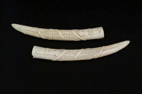 23: Pair of Carved Ivory Tusks