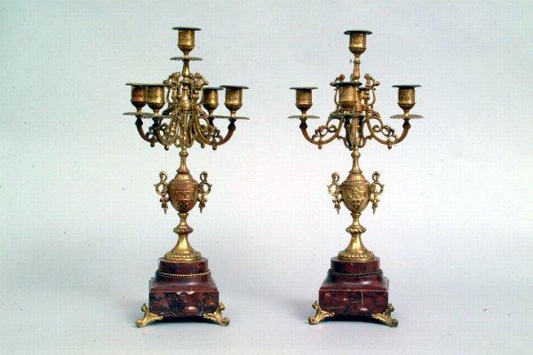 9: Pair of Five Light Brass Candelabra