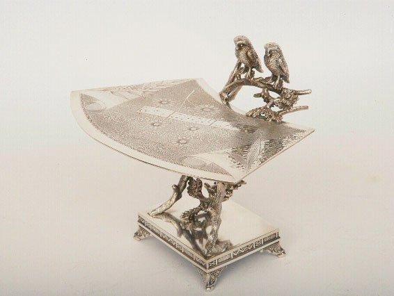 10: Victorian Silverplate Card Receiver, Derby Silver