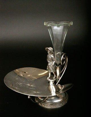 11: Victorian Silverplate Figural Card Receiver