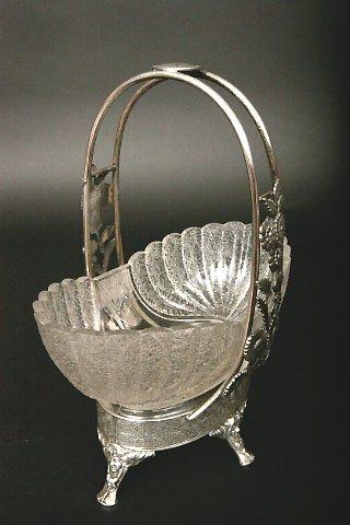 15: Victorian Silverplate & Glass Basket, Meriden