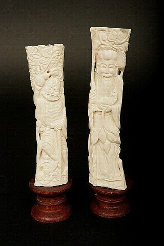 23: Pair Chinese Carved Ivory Immortals