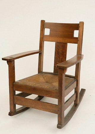 127: Limbert Arts & Crafts Oak Rocker with rush seat