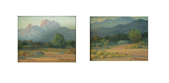 403: Stremski, Pair Paintings, New Mexico Desert