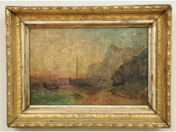 406: 19th c. Painting, Fishing Boats