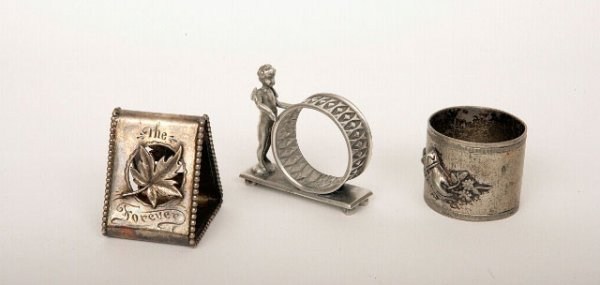 407: 3 Victorian Silverplate Napkin Rings