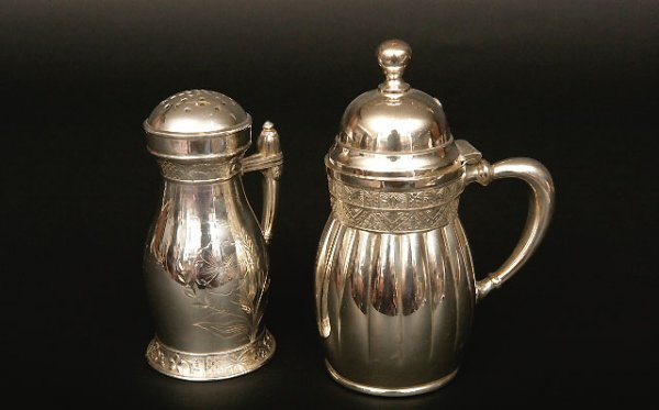 412: Silverplate Maple Syrup Jug and Sugar Caster