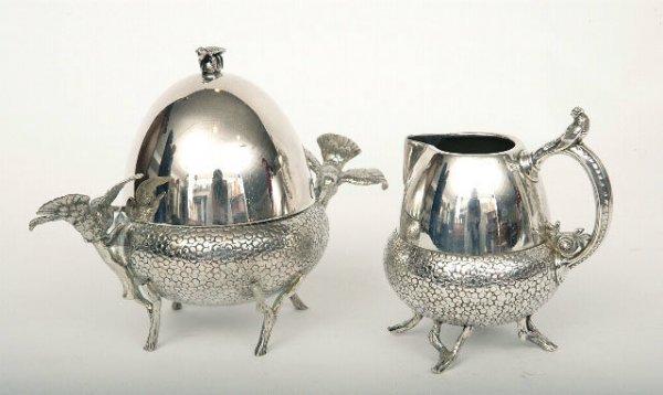 414: Victorian Silverplate Hummingbirds Creamer & Sugar