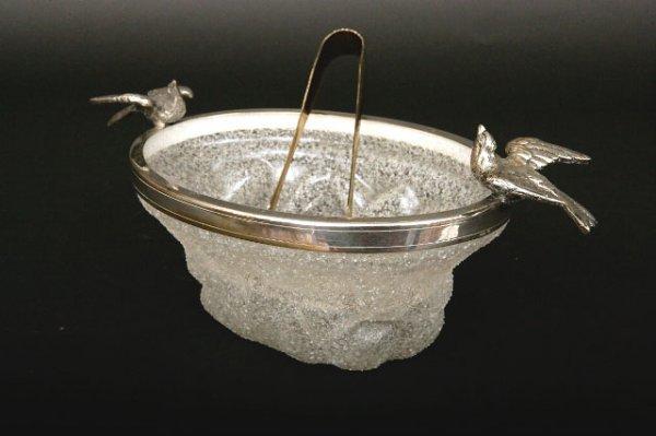 420: Victorian Silverplate & Glass Ice Bucket