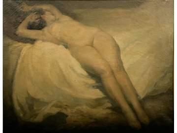 451: Ludo Marius Chauviac Painting Nude, 19th c.