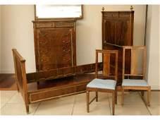 492: R.J. Horner bedroom suite, Louis XVI style, labels