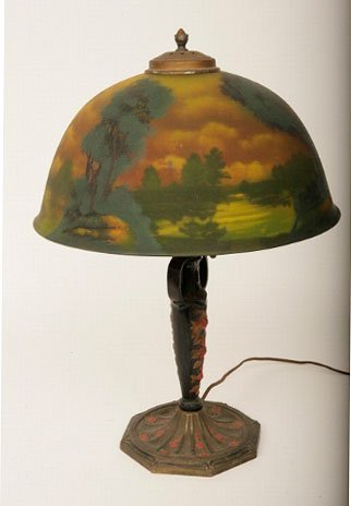 502: Pittsburgh Reverse Painted Table Lamp