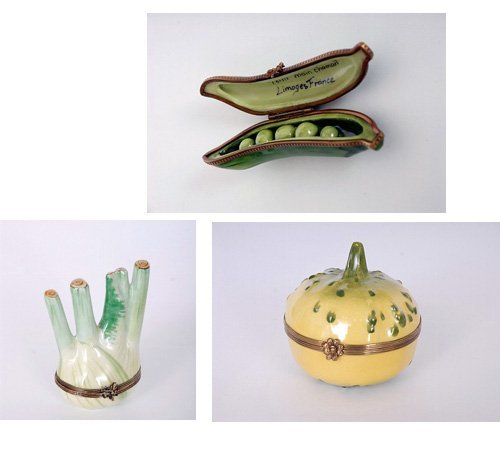 4: 3 Limoges Hand Painted Vegetable Snuff Boxes
