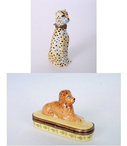 6: 2 Limoges Hand Painted Snuff Boxes