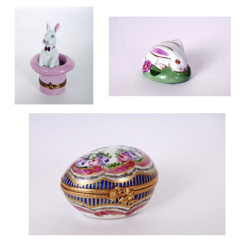 7: 3 Limoges Hand Painted Rabbit Snuff Boxes