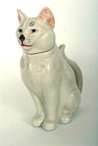 14: French Glazed Ceramic Cat Pitcher