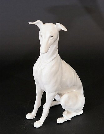 15: White Glazed Pottery Whippet