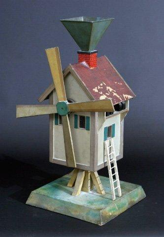 18: Charming Painted Folk Art Windmill Whirligig
