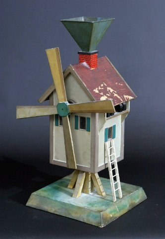 18: Charming Painted Folk Art Windmill Whirligig
