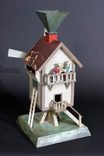 18: Charming Painted Folk Art Windmill Whirligig - 4