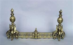 Sphinx Form Brass Chenets