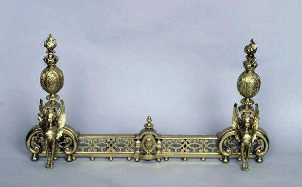 11: Sphinx Form Brass Chenets