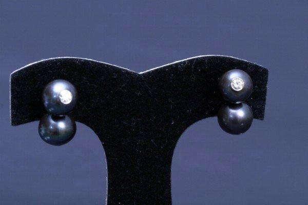 23: Black Pearl & Diamond Earrings
