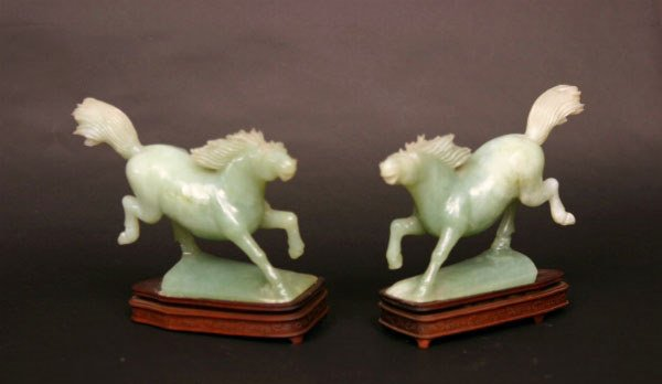 3: Pair of Carved Hard Stone Horses