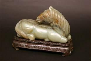 Carved Hard Stone Horse Figure