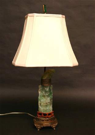 Carved Green Quartz Lamp