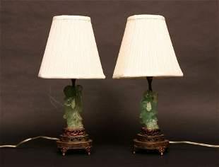 Pair of Green Quartz Lamps