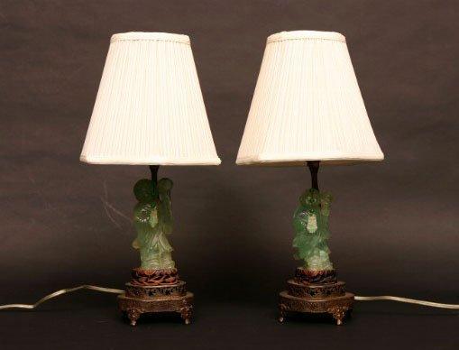 6: Pair of Green Quartz Lamps