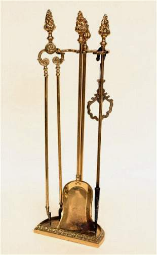 Brass Fireplace Tools and Stand