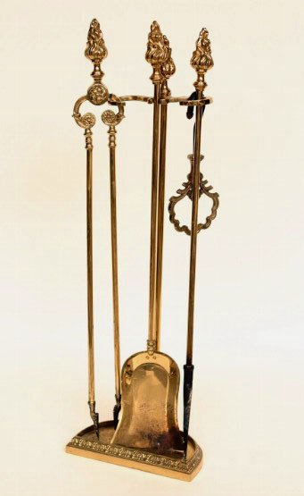 16: Brass Fireplace Tools and Stand