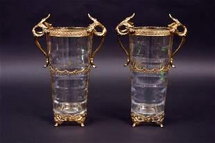 Pair Swedish Metal Mounted Vases