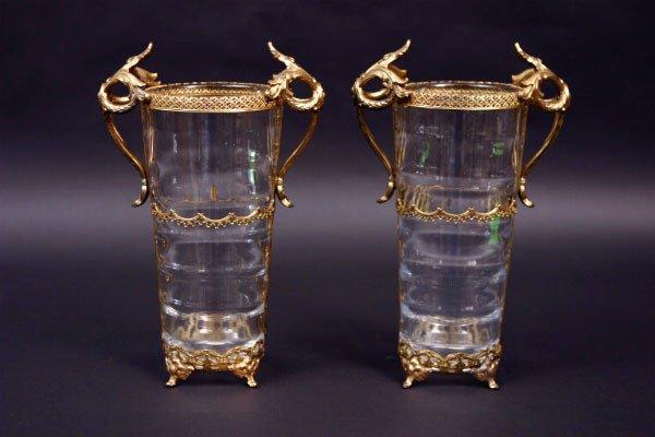 19: Pair Swedish Metal Mounted Vases
