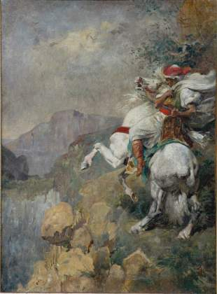 Circle of Adolf Schreyer Arab Painting
