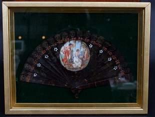 Antique Painted Tortoise Fan