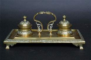 Brass Double Inkwell, 19th c.