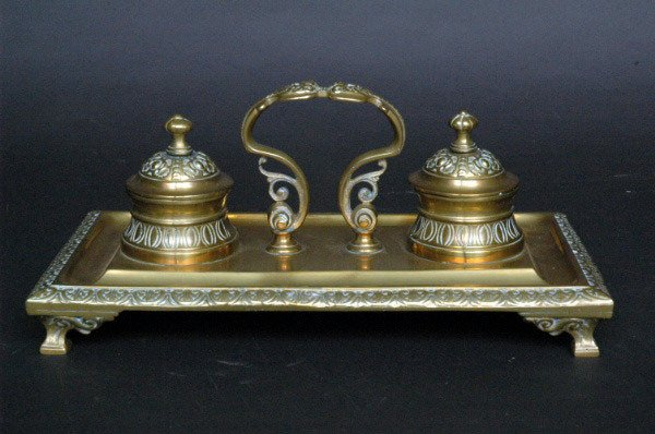 16: Brass Double Inkwell, 19th c.
