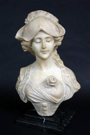 Italian Marble Bust, A. Cipriani Bust of a Lady