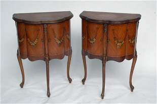 Pr. French Satinwood Commodes