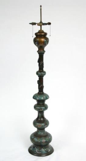 Champleve Oil Lamp Early 20thc.