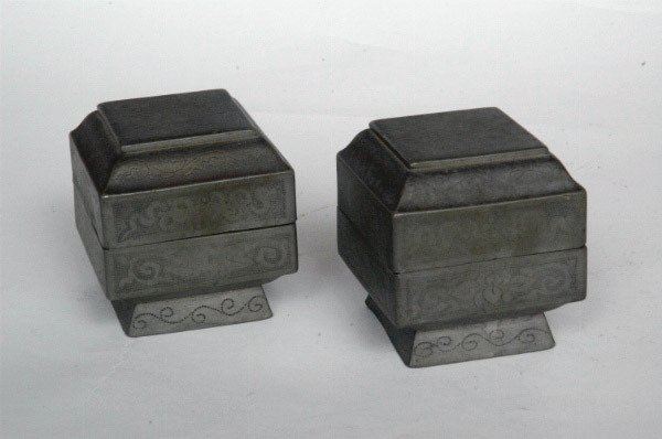 216: Two Chinese Pewter Boxes