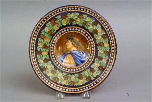 Italian Majolica Portrait Plate