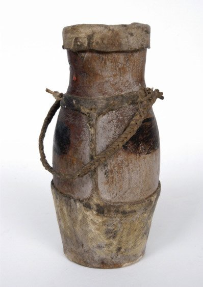 9: African Wood and Leather Vessel